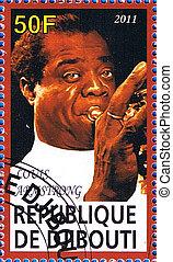 Louis Armstrong - DJIBOUTI - CIRCA 2011: A postage stamp...