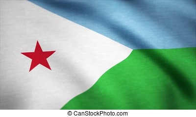 Djibouti Flag. Background Seamless Looping Animation....