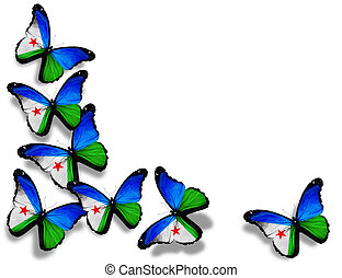 Djibouti flag butterflies, isolated on white background