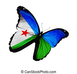 Djibouti flag butterfly flying, isolated on white background