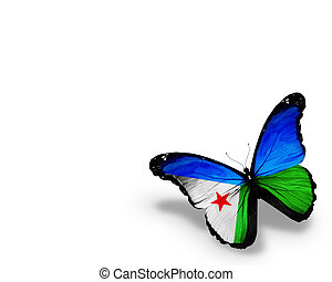 Djibouti flag butterfly, isolated on white background