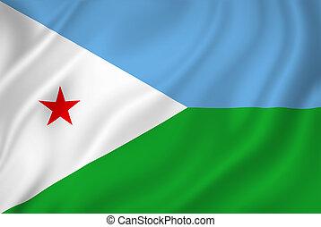 Djibouti national flag background texture.
