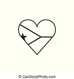 Djibouti flag icon in a heart shape in black outline flat design
