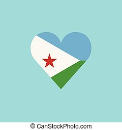 Djibouti flag icon in a heart shape in flat design