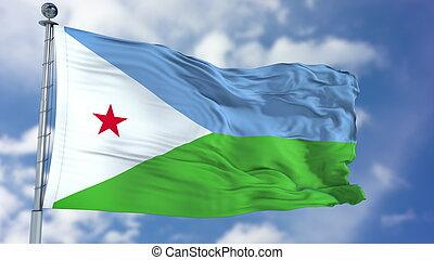Djibouti Flag in a Blue Sky