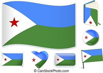 Djibouti flag in seven shapes. Editable with separate layers.