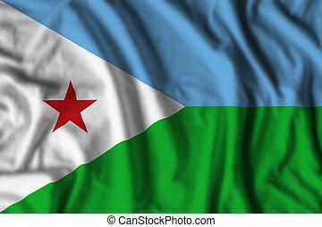 Djibouti flag realistic waving