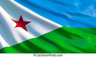 Djibouti flag. Waving flag of Djibouti 3d illustration