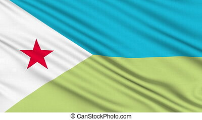 Djibouti Flag, with real structure of a fabric