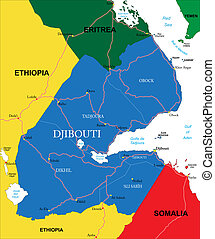 Djibouti map - Highly detailed vector map of Djibouti with...