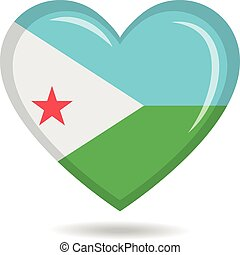 Djibouti national flag in heart shape vector illustration