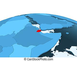 Djibouti on blue political globe