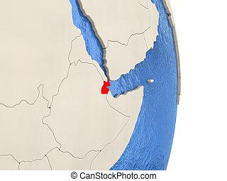 Djibouti on model of political globe