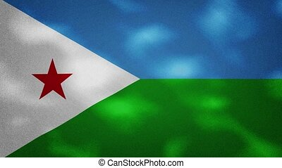 Republic Djibouti dense flag fabric wavers, perfect loop for background