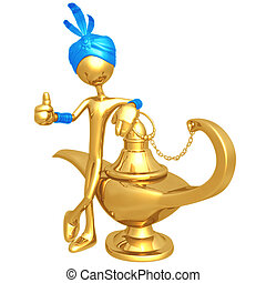 Djinn With Magic Lamp - 3D Concept And Presentation Figure