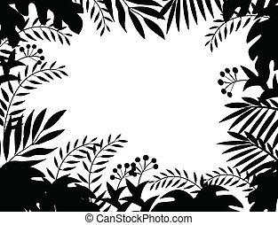 djungel, silhuett