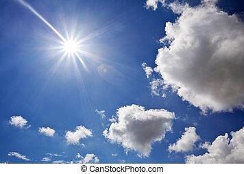 djup, blå, sky., element, av, design.