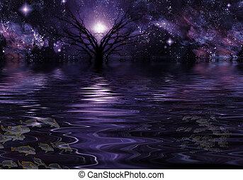 djup, purpur, fantasi, landskap