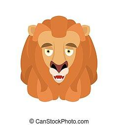 djur, emotion., illustration, avatar., lejon, vektor, munter, beast., vild, emoji, glad, lycklig