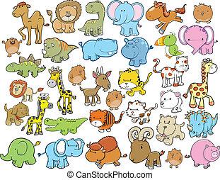 djur, formge grundämnen, vektor, sätta