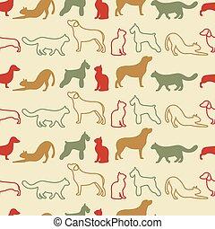djur, seamless, vektor, mönster, av, katt, och, hund, silhouettes