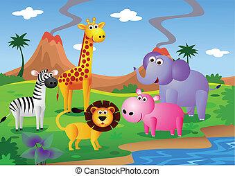 djur, tecknad film, in, den, vild