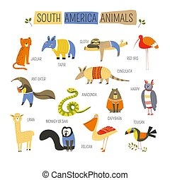 djuren, amerikan, vektor, design, tecknad film, syd