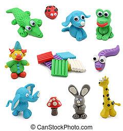 djuren, gjord, från, barnlek, lera