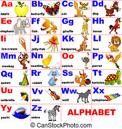 djuren, identifierat, på, brev, av, den, alfabet