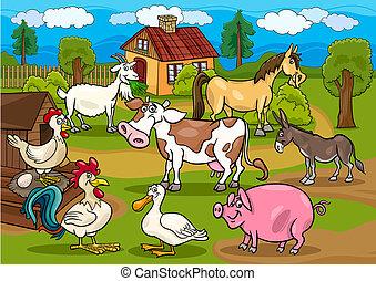 djuren, lantgård, scen, illustration, lantlig, tecknad film