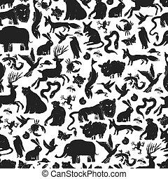 djuren, mönster, seamless, zoo, silhouettes., grupp