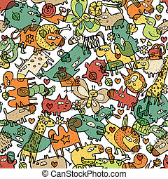 djuren, och, objekt, seamless, mönster