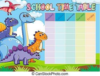 djuren, tidtabell, skola, dinosaurie
