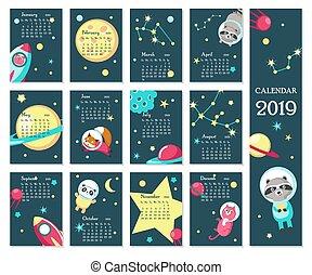 djuren, utrymme, vektor, 2019, mall, kalender