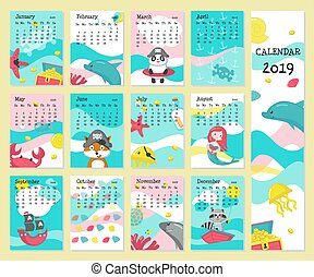 djuren, vektor, 2019, mall, kalender, sjörövare