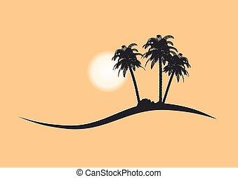 dlaň, vektor, strom, ostrov, piktogram