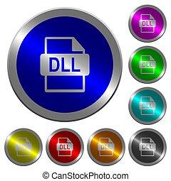dll, bestand, formaat, lichtgevend, coin-like, ronde, kleur, knopen