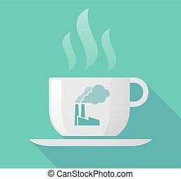dlouho, stín, číše k káva, s, jeden, továrna