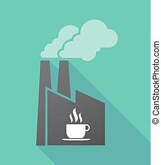 dlouho, stín, továrna, s, jeden, číše k káva