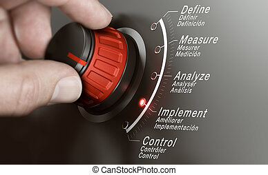 Hand turning a DMAIC knob over grey background and selecting the different phases. Lean management training concept. Composite image between a hand photography and a 3D background.