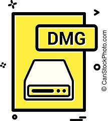 dmg, pořadač, formát, ikona, vektor, design