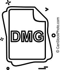 dmg, pořadač, litera, ikona, design, vektor