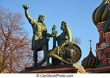 dmitry, pozharsky, und, kuzma, minin, denkmal, auf, rotes quadrat, bei, kathedrale, von, vasily, gesegnet