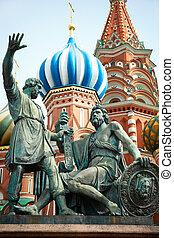 dmitry, pozharsky, und, kuzma, minin, denkmal, .russia.moscow.