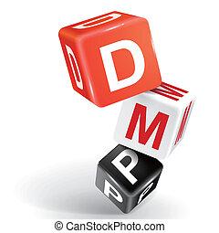 dmp, palabra, dados, ilustración, 3d