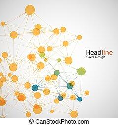 dna, ネットワーク, 色, 接続, ベクトル, 原子