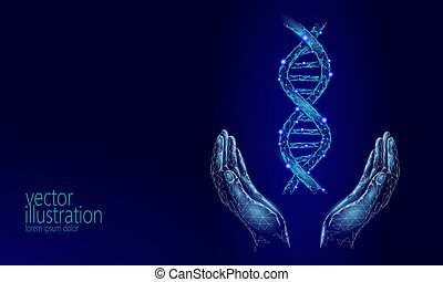 DNA 3D chemical molecule structure hands low poly. Polygonal triangle point line healthy cell part. Microscopic science blue medicine genome engineering vector illustration future business technology