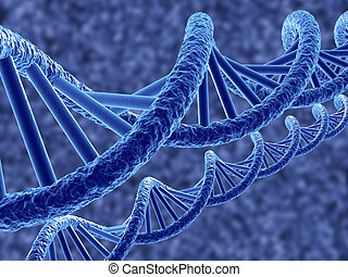 DNA - 3d render of dna on blue background