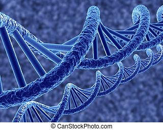 DNA - 3d render of dna on blue background