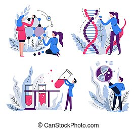 DNA and molecule structure, genetics science isolated icons...